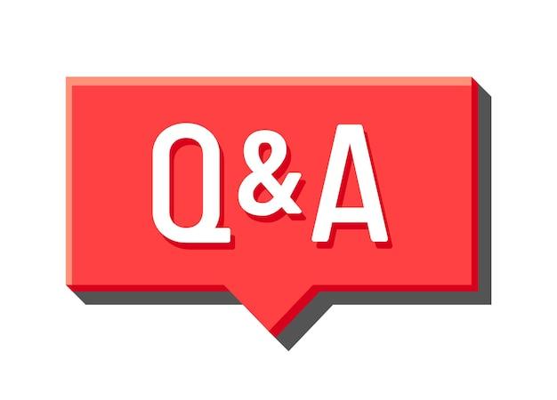 Q i czerwony dymek, ikona mediów, koncepcja pytań i odpowiedzi. wielkie litery, forum faq, komunikacja, symbole czatu, treści na infografikę na białym tle. ilustracja wektorowa