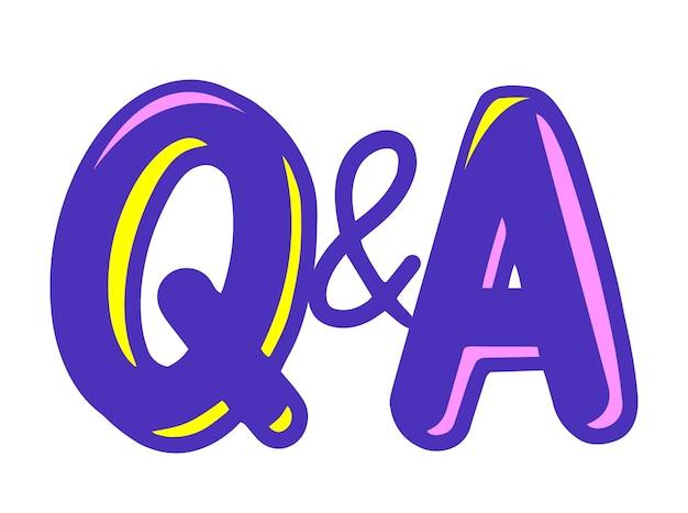 Q i litery w stylu kreskówki, koncepcja komunikacji pytań i odpowiedzi. wielkie znaki, faq, symbole czatu na infografikę, treści multimedialne na białym tle. ilustracja wektorowa