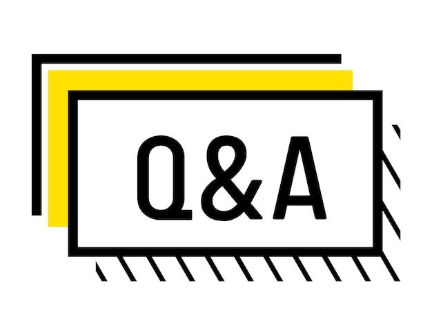 Q i znak, infografiki pytań i odpowiedzi, koncepcja prezentacji. wielkie litery, faq, symbole komunikacji dla infografiki, treści multimedialne na białym tle. ilustracja wektorowa