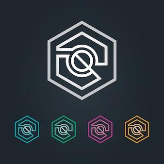 Q logo sześciokątne