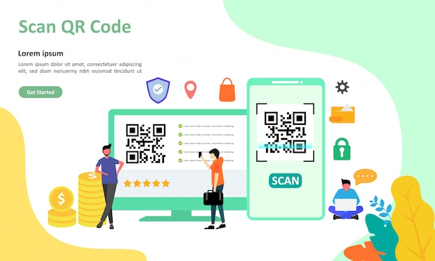 Qr code scanning vector illustration nadaje się do strony docelowej