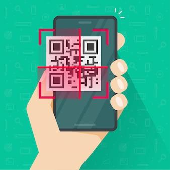 Qr kodu skanuje na telefonie komórkowym lub smartphone ekranie w osoby ręki kreskówki płaskiej ilustraci