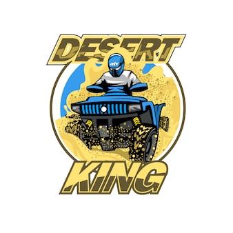 Quad bike w logo wzgórza pustyni, na białym tle.