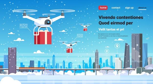 Quadcopter drone pudełko prezent usługi dostawy szczęśliwego nowego roku na boże narodzenie
