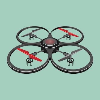 Quadrocopter na białym tle na jasnozielonym tle. ilustracja czterowrotnego helikoptera lub quadrotora, wielowirnikowego helikoptera podnoszonego i napędzanego przez cztery wirniki w płaskim realistycznym stylu