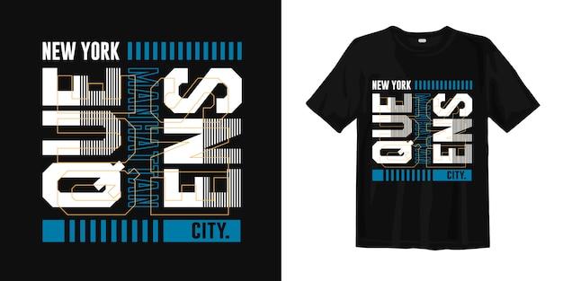 Queens, miasto nowy jork. stylowa koszulka typu typografia