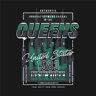 Queens new york city ramka tekstowa moda styl t shirt projekt typografia ilustracja