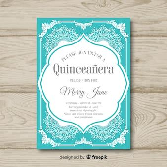 Quinceanera przeciążony ornamentami szablon zaproszenia
