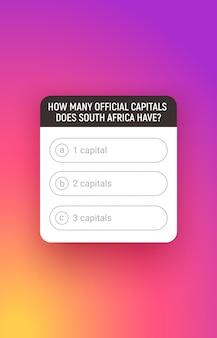 Quiz fabularny, interfejs elementów mediów społecznościowych. okno odpytywania z opcją odpowiedzi.