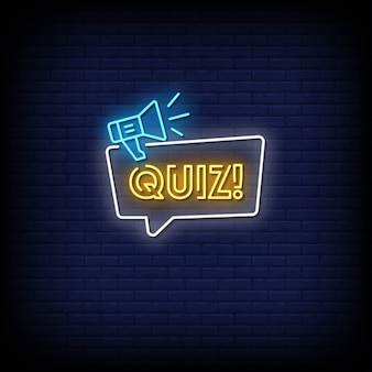Quiz neon signs style text