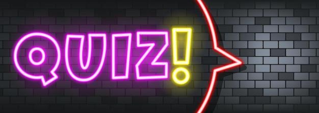 Quiz neon tekst na tle kamienia. kartkówka. dla biznesu, marketingu i reklamy. wektor na na białym tle. eps 10.
