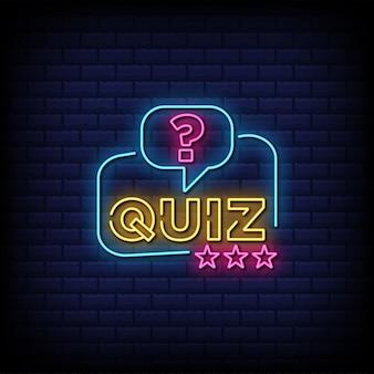 Quiz neon znak ze znakiem zapytania