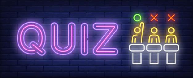 Quiz neon znak