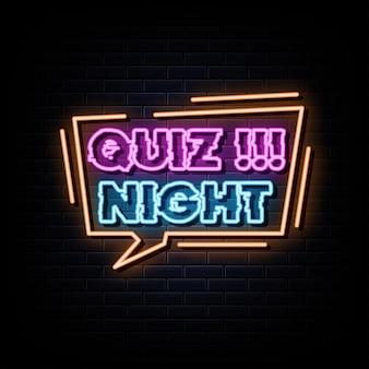 Quiz noc neony wektor szablon projektu neon znak
