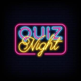 Quiz noc ogłoszenie neon znak