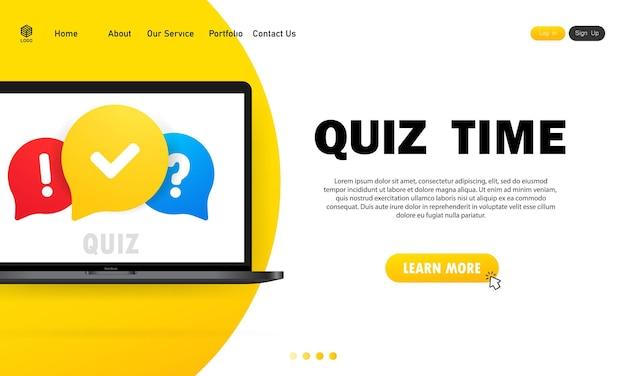 Quiz online na laptopie. koncepcja jest pytaniem z odpowiedzią. czas na quiz.