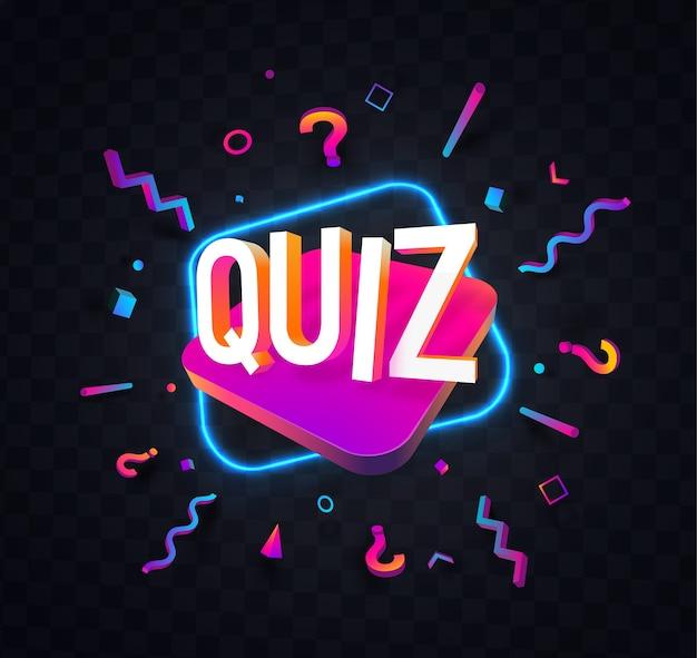 Quiz symbol neon ilustracja noc na białym tle elementy projektu