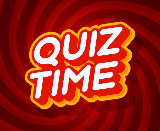 Quiz time czerwony i żółty szablon efektu tekstowego w stylu typu 3d