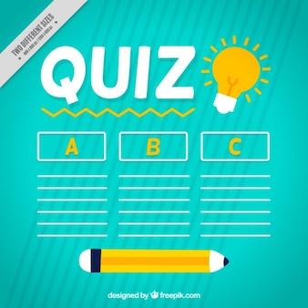 Quiz tło z ołówkiem i trzech opcji