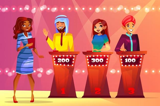 Quiz trivia ilustracja ludzie w teleturnieju studiu.
