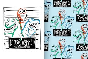 Ręcznie rysowane ładny dinozaur z wektor wzór zestaw