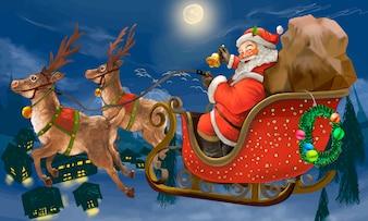 Ręcznie rysowane Świętego Mikołaja, jazda na sankach dostarczanie prezentów