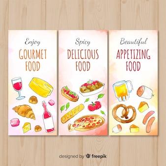 Ręcznie rysowane baner pyszne jedzenie