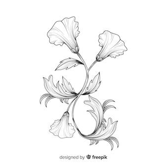 Ręcznie rysowane barokowe kwiaty
