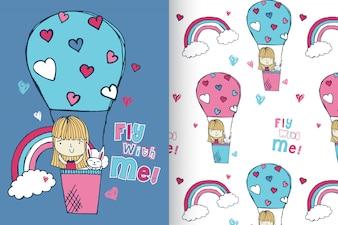 Ręcznie rysowane dziewczynka z zestawie wzór