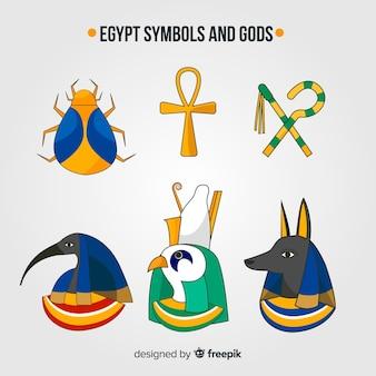 Ręcznie rysowane egipskie symbole i kolekcja bogów