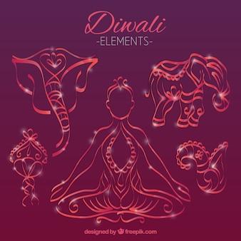 Ręcznie rysowane elementy Diwali