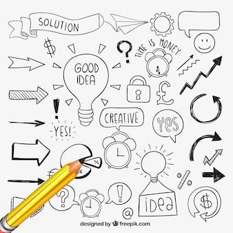 Ręcznie rysowane elementy pomysł