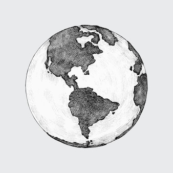 Ręcznie rysowane glob ilustracja