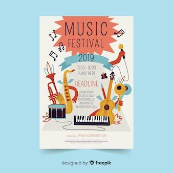 Ręcznie rysowane instrumenty festiwal muzyczny plakat