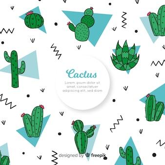 Ręcznie rysowane kaktus doodle tło