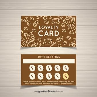 Ręcznie rysowane kawiarnia szablon karty lojalnościowej