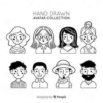 Ręcznie rysowane kolekcja awatarów