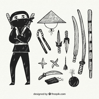 Ręcznie rysowane kolekcja elementów ninja