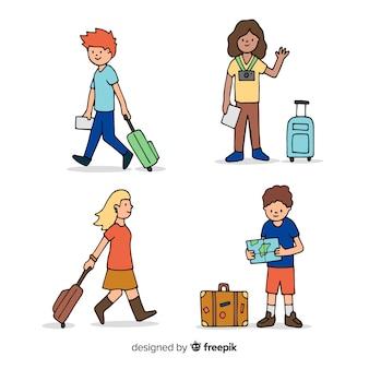 Ręcznie rysowane kolekcja osób podróżujących