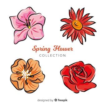 Ręcznie rysowane kolekcja wiosennych kwiatów