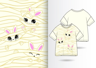 Ręcznie rysowane królik ładny ilustracja t shirt projekt