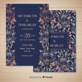 Ręcznie rysowane kwiatowy ślub szablon karty