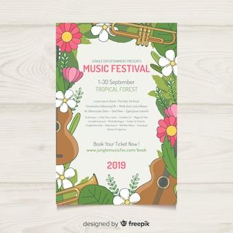 Ręcznie rysowane kwiatowy plakat festiwalu muzyki ramki