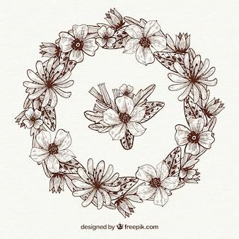 Ręcznie rysowane kwiatowy rama z szkicowy styl