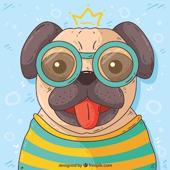 Ręcznie rysowane mops w okularach