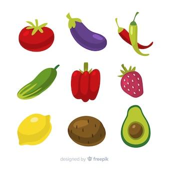 Ręcznie rysowane opakowanie warzyw i owoców