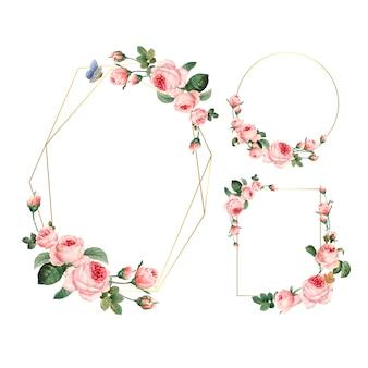Ręcznie rysowane puste różowe róże ramki na białym tle zestaw