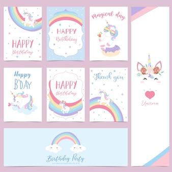 Ręcznie rysowane słodkie karty z jednorożcem