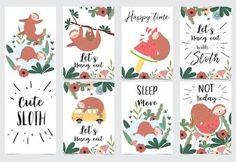 Ręcznie rysowane słodkie karty z lenistwo