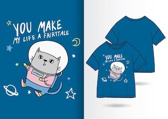 Ręcznie rysowane słodkie kotek ilustracja z t shirt